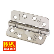 Eclipse Ball Bearing Fire Hinge Radius Corners Polished Stainless Steel 102 x 76mm Pk3