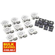 Robus Fixed Round Mains Voltage Downlight White 240V Pk10