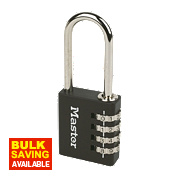 Master Lock Aluminium Long Shackle Padlock Black 40mm