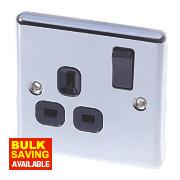 LAP 13A 1-Gang SP Switched Plug Socket Polished Chrome