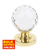 Jedo Frelan Classic Faceted Glass Mortice Knob Pair Polished Brass 50mm