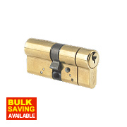 Yale AS Series Euro Double Cylinder Lock 45-55 (100mm) Polished Brass