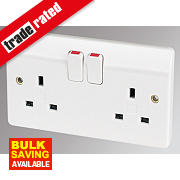MK 13A 2-Gang DP Switched Plug Socket White