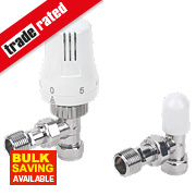 15mm Angled TRV with Lockshield White & Chrome