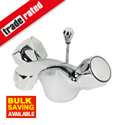 Swirl Contract Bathroom Basin Mono Mixer Tap Metal Head Chrome