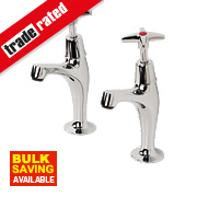 Swirl Contract Cross Head Pillar Kitchen Taps Pair