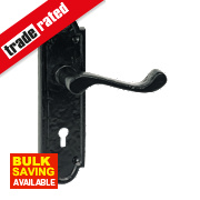 Jedo Lever Lock Door Handle Shaped Plate Black 48 x 172mm