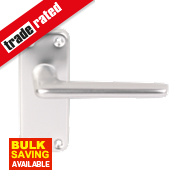 Contract Latch Door Handle Pair Satin Aluminium