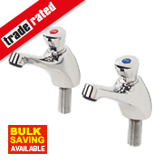 H & C Self-Closing Non-Concussive Bathroom Basin Taps Pair ½""