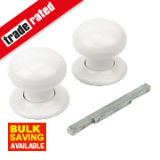 Porcelain Mortice Knob Pair White 63mm