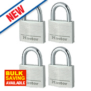 Master Lock Aluminium Keyed Alike Padlocks 40mm Pack of 4