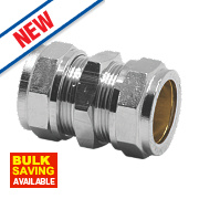 Pegler Prestex PX40CP Chrome-Plated Straight Compression Coupling 15mm