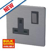 LAP 1-Gang 13A SP Switched Plug Socket Slate Effect
