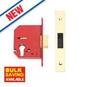 Union Euro Profile Bathroom Mortice Deadlock Brass 81 x 26mm
