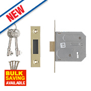 "Smith & Locke 3-Lever Mortice Deadlock Electric Brass 3"" / 76mm"