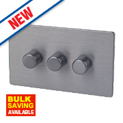 LAP 3-Gang 2-Way Dimmer Switch Mains/Low Voltage 250W Slate Effect