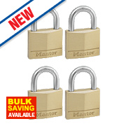Master Lock Keyed Alike Padlocks Brass 40mm Pack of 4