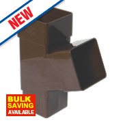 FloPlast Square Downpipe Branch 67.5° Brown 65mm