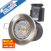 Robus 30, 60 & 90min Fire Rated Fixed LED Downlight IP20 Brushed Chrome 3.5W