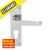 Jedo Euro Lock Door Handle Pair Polished Chrome