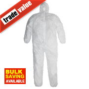 "Keep Safe Disposable Coveralls White X Large 42-46"" Chest 31"" L"
