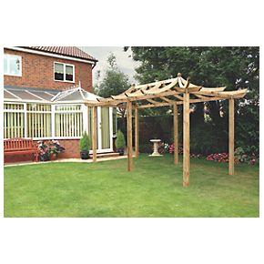 Grange Dragon Extended Pergola PressureTreated Green 2.7 x 4.8 x 3.25m