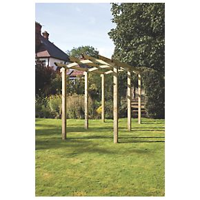 Grange Bowed Pergola Walkway PressureTreated Green 1.8 x 4.8 x 2.93m
