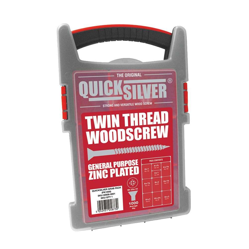 NEW Quicksilver Woodscrews Trade Case Grab Pack Double Countersunk Pack of 1000