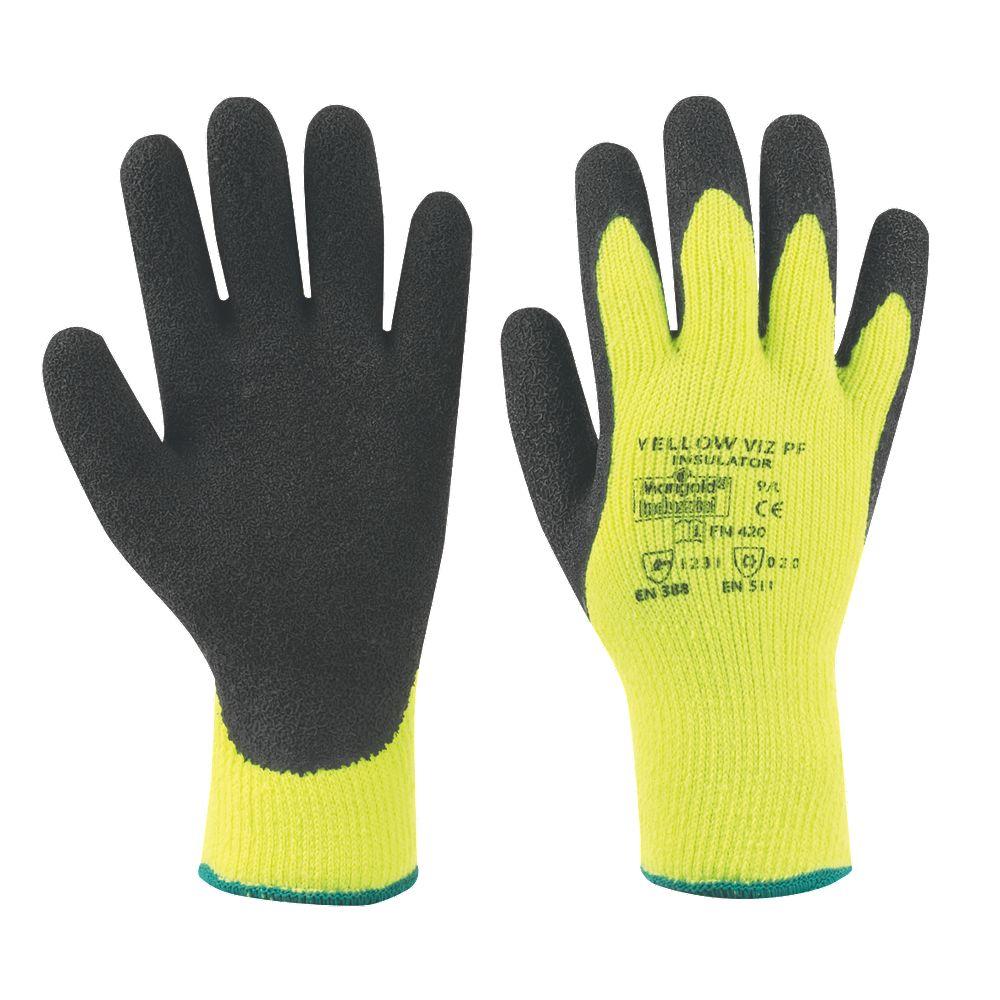accogliente fresco Regno Unito grande vendita NUOVO CALENDULA industriale Hi Viz Termici Lattice Palm guanti gialli  grandi | eBay