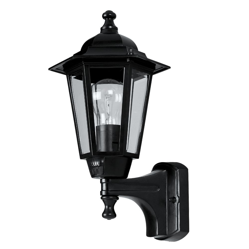 Lantern Wall Light Pir : NEW 60W Black 6-Panel Coach Lantern Outdoor Wall Light PIR eBay