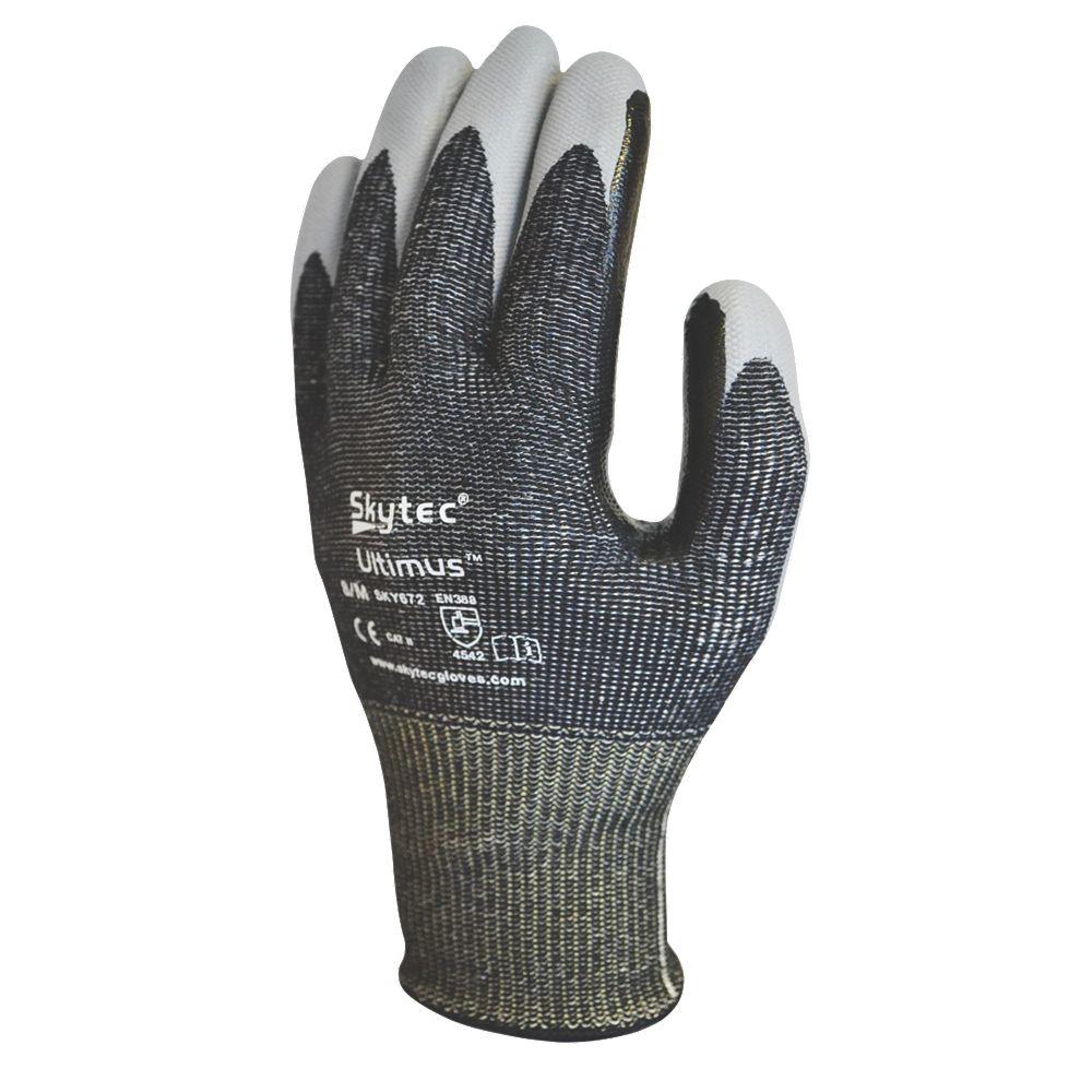 Black light gloves - Image Is Loading Skytec Ultimus Cut 5 Gloves Black Light Grey