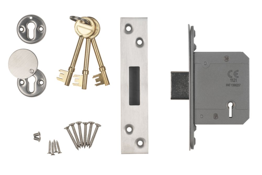 """Image of Smith & Locke BS 5-Lever Mortice Deadlock Satin SS 2"""" / 64mm"""