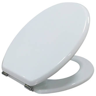 40cm round toilet seat. Cooke and Lewis Standard Closing Toilet Seat Moulded Wood White Seats  Covers Bathrooms Screwfix com