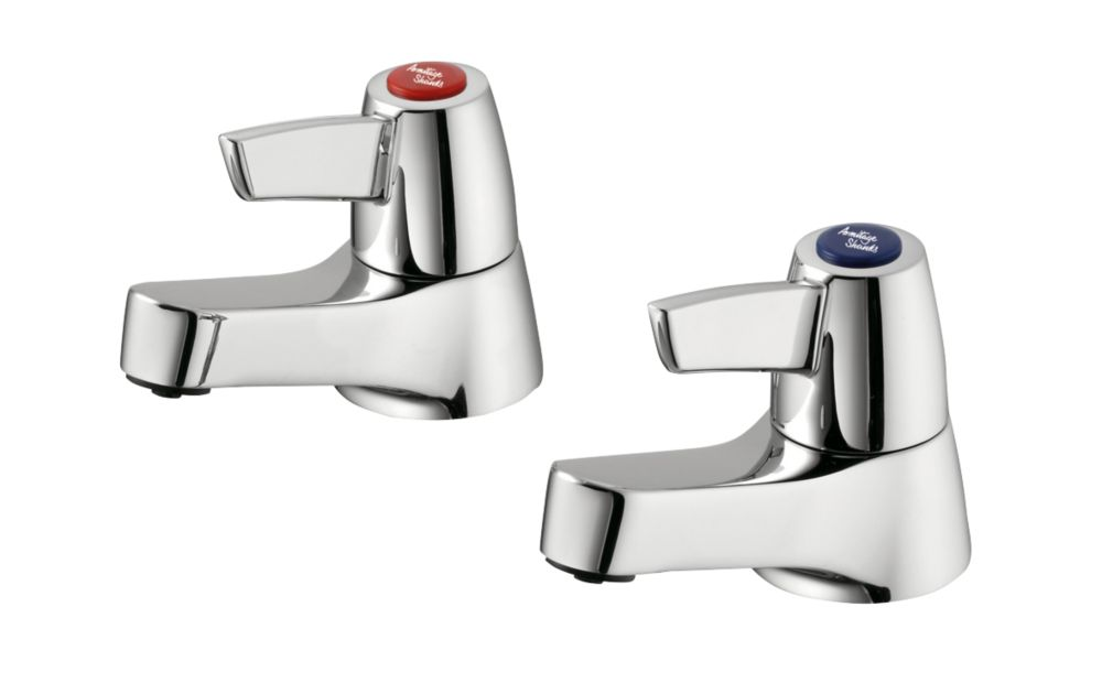 Image of Armitage Shanks Sandringham 21 Basin Pillar Bathroom Taps Pair