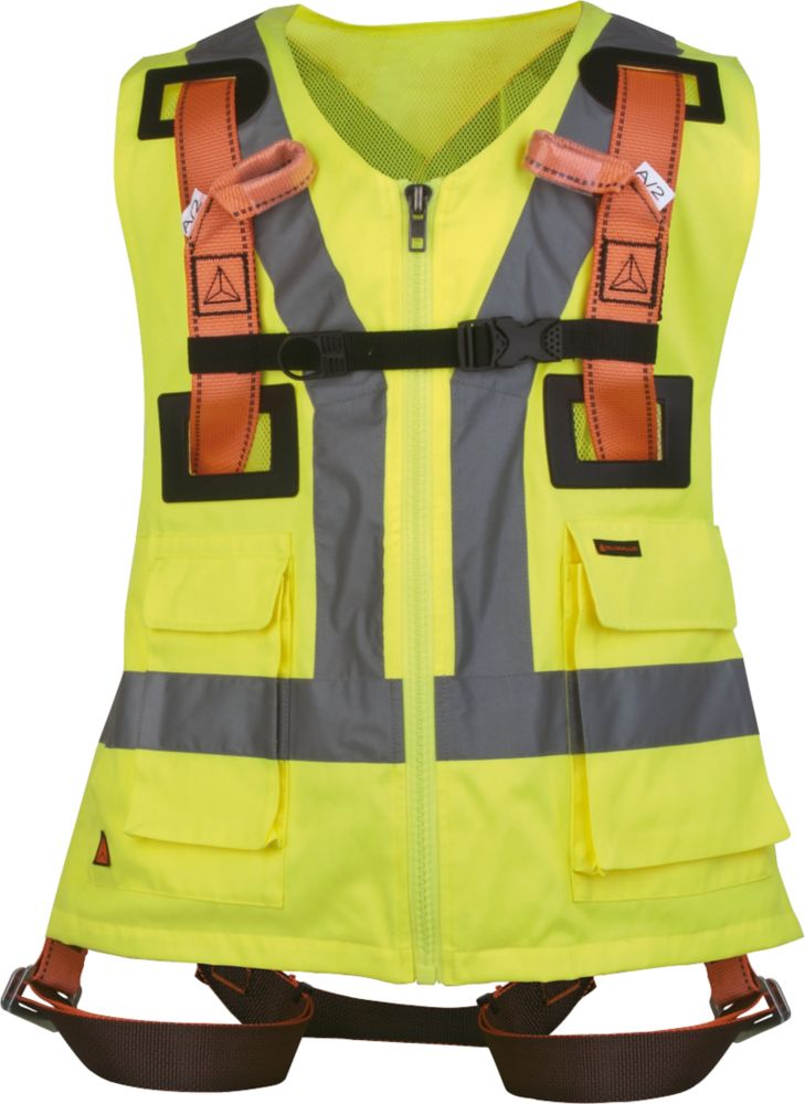 Image of Delta Plus HAR12GILJAGT 2-Point Fall Arrest Harness w/Hi Vis Vest Polyester