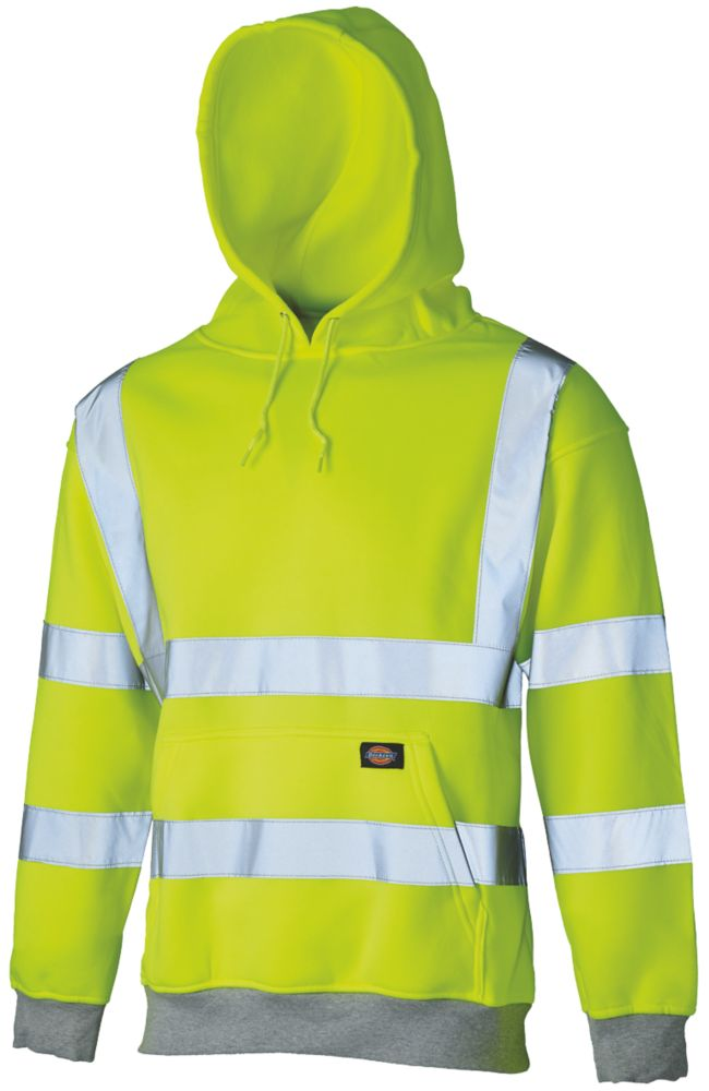 "Image of Dickies SA22090 Hi-Vis Hoodie Saturn Yellow Extra Large 50"" Chest"