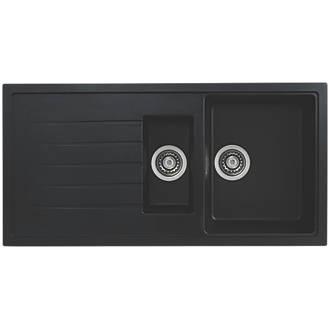 Image of Bristan Quartz Resin Composite Kitchen Sink & Reversible Drainer Black 1.5 Bowl Left or Right-Handed 1000 x 500mm