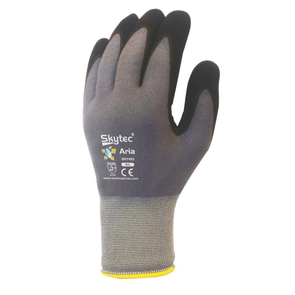 Image of Skytec Aria Nitrile-Coated Gloves Grey/Black Medium