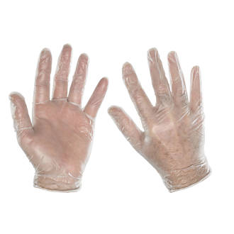 Image of Cleangrip Vinyl Powdered Disposable Gloves Clear Large 100 Pack