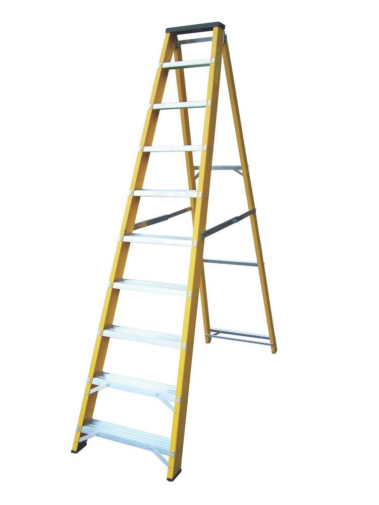 Image of Lyte GFBB10 Swingback Builders Step Ladder Fibreglass 10-Tread 2.17m