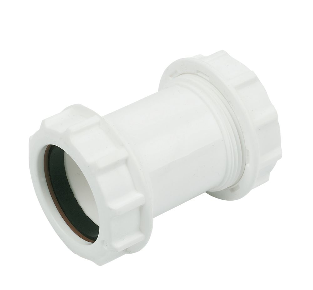 Image of FloPlast WC08 Universal Compression Waste Straight Coupler White 40mm x 40mm