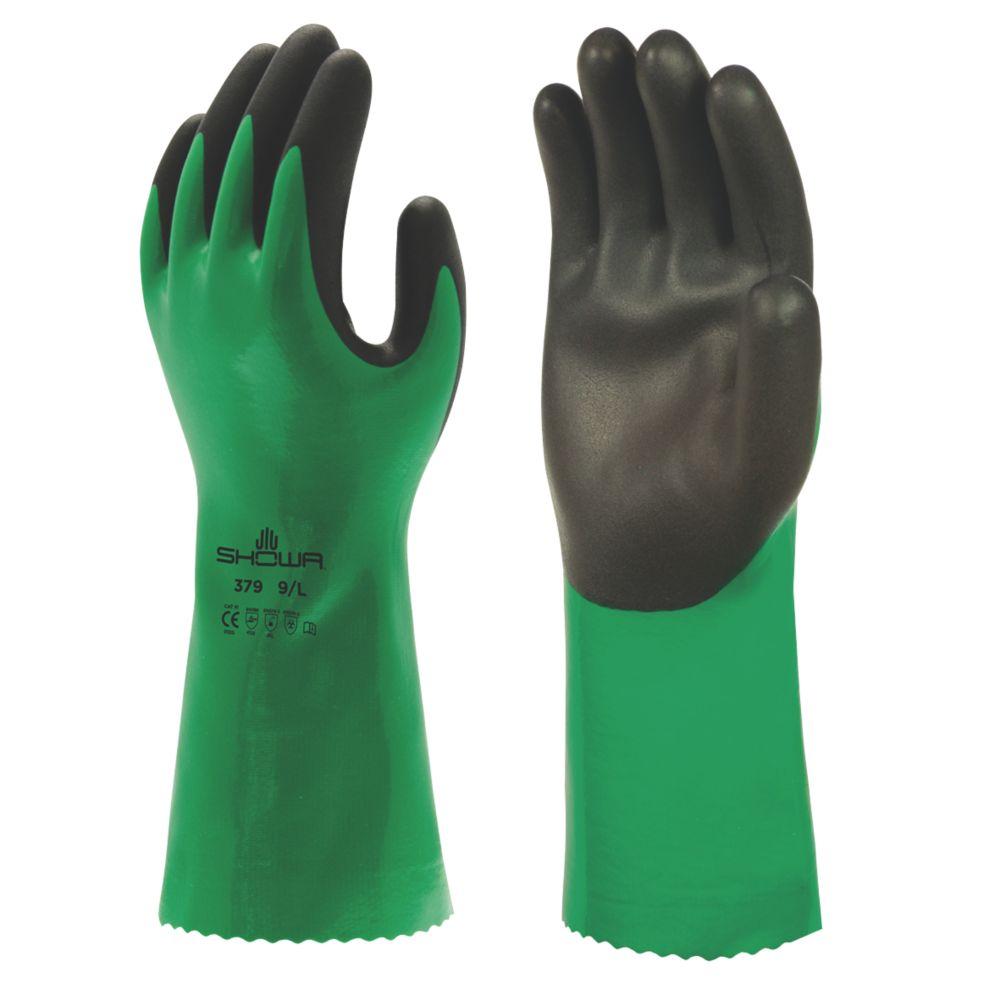 Image of Showa 379 Chemical Gauntlet Green / Black Large