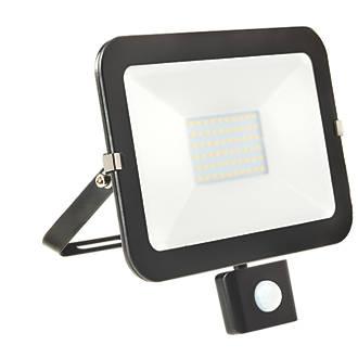 Image of Brackenheath iSpot LED PIR Slim Floodlight Black 50W Cool White