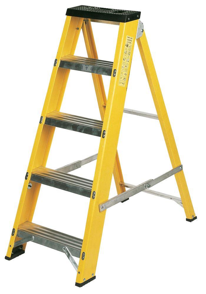 Image of Lyte GFBB5 Swingback Builders Step Ladder Fibreglass 5-Tread 1.03m