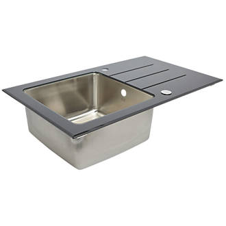 Stainless Steel Glass Top Kitchen Sink & Drainer 1 Bowl Reversible ...