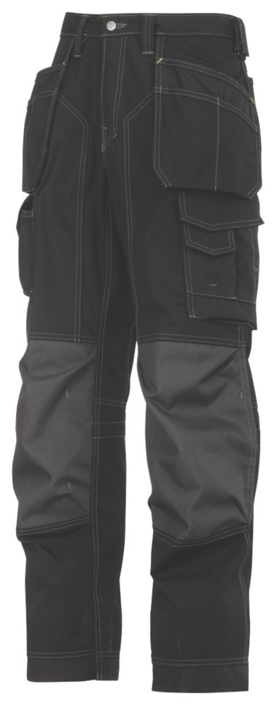 """Image of Snickers 3223 Floorlayer Floorlayer Trousers Black 35"""" W 32"""" L"""