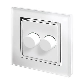 Image of Retrotouch 2-Gang 2-Way LED Rotary LED Dimmer Switch White Glass with White Inserts