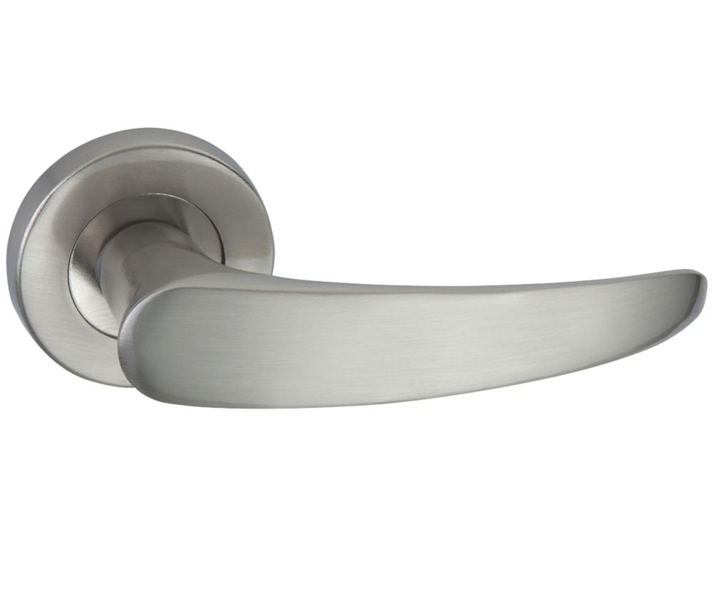 Image of Designer Levers Elegance Lever on Rose Door Handle Pair Brushed Nickel