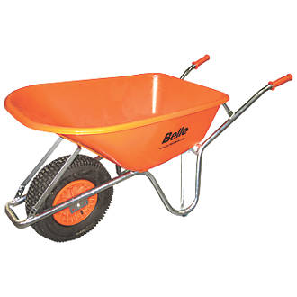 Image of Belle Group Warrior Pneumatic Wheels HDPE Wheelbarrow Silver/Orange 100Ltr