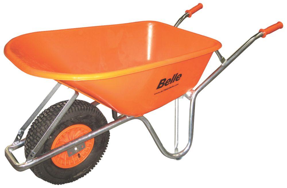 Image of Belle Group Warrior Pneumatic Wheels HDPE Wheelbarrow Silver/Orange 100Ltr